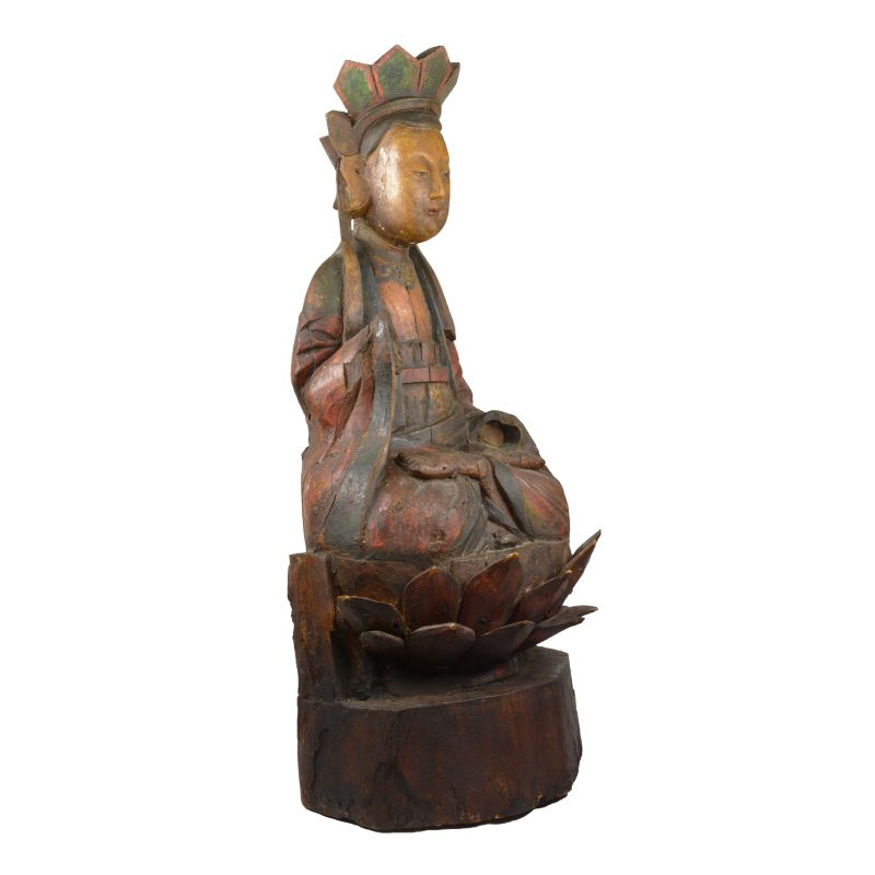 Chinese Wooden Buddha in Lotus Position