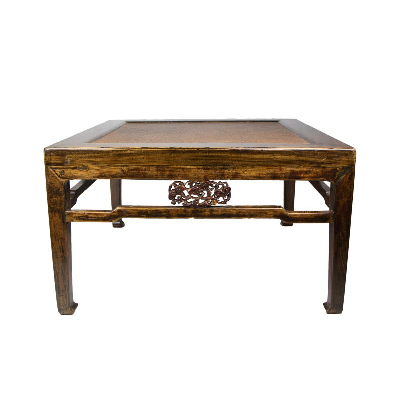 Chinese Low Square Table with Woven Top With Openwork Apron