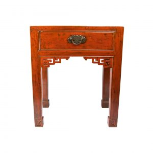 Chinese Red Laquer Single Drawer Side Table