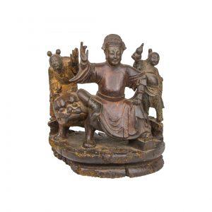 Wooden Chinese Sculpture de Bodhisattva Manjushri on a Lion