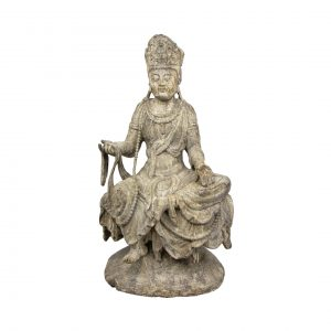 Wooden Chinese Sculpture of a Guanyin on a Lotus