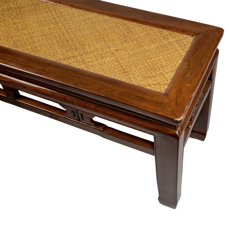 Chinese Wooden Bench with Woven Top