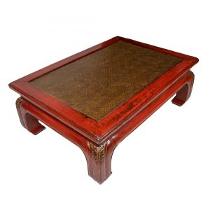 Chinese Red Lacquer Low Table With Carved Feet and Woven Top