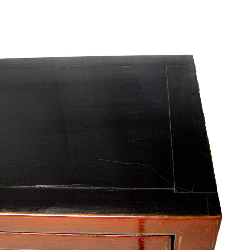 Chinese Four Doors Two Drawers Painted Lacquer Cabinet
