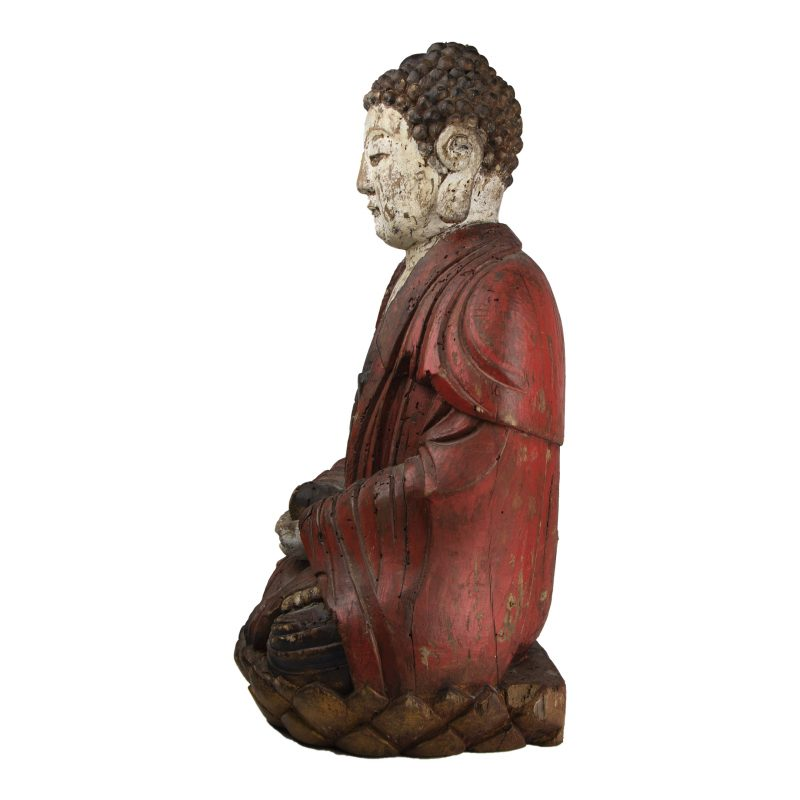 Chinese Statue of Buddha in Lotus Position Holding a Ball
