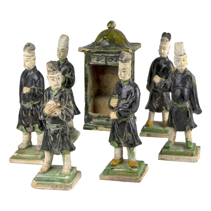 A Chinese Ming Dynasty Palanquin and Six Attendants Vivid Green Glaze Figures