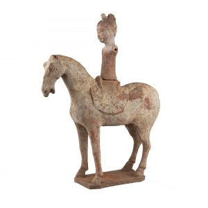 Chinese Terracotta of an elegant Tang horsewoman with a braid