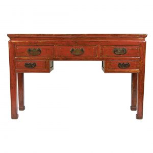Chinese Red Lacquered Five Drawers Desk