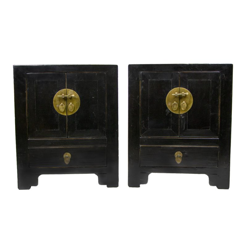 Pair of Chinese Antique Black Lacquer Small Cabinets