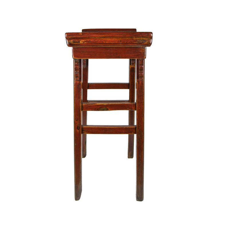 Chinese Altar Red Lacquer Single Drawer Side Table