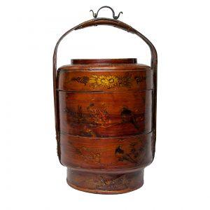Panier à étages chinois ancien en bambou et osier