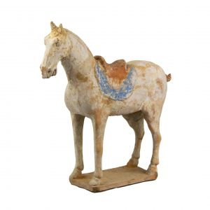Chinese Terracota of a Tang Horse With a Blue Saddle Pad
