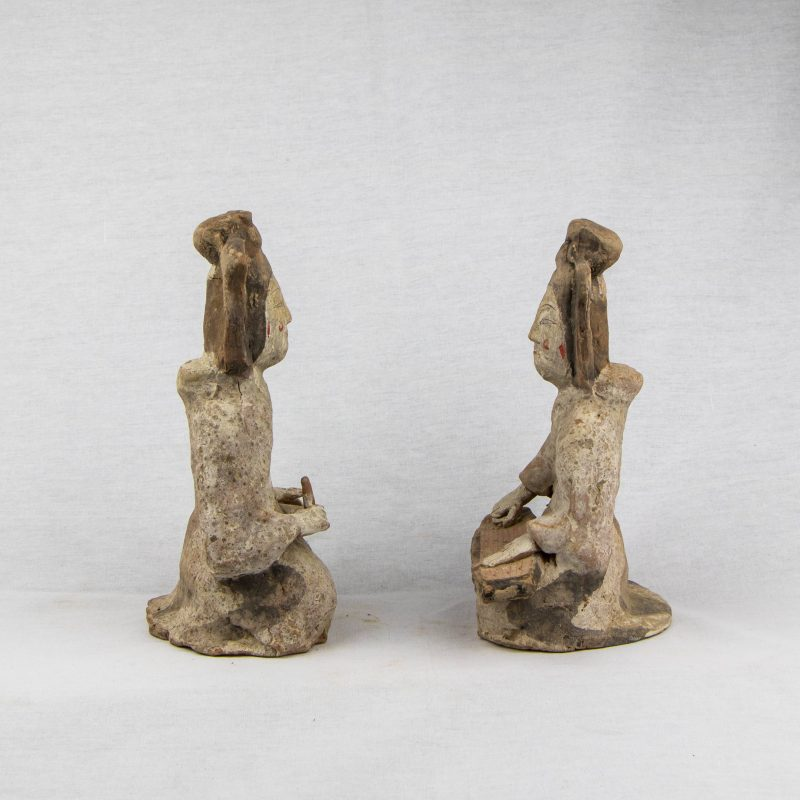 Chinese Dynasty Wei Terracotta Pair of Seated Musicians