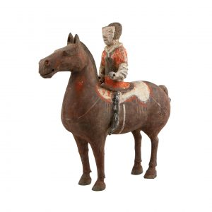 Chinese Han Dynasty Terracotta Rider and his bay Horse