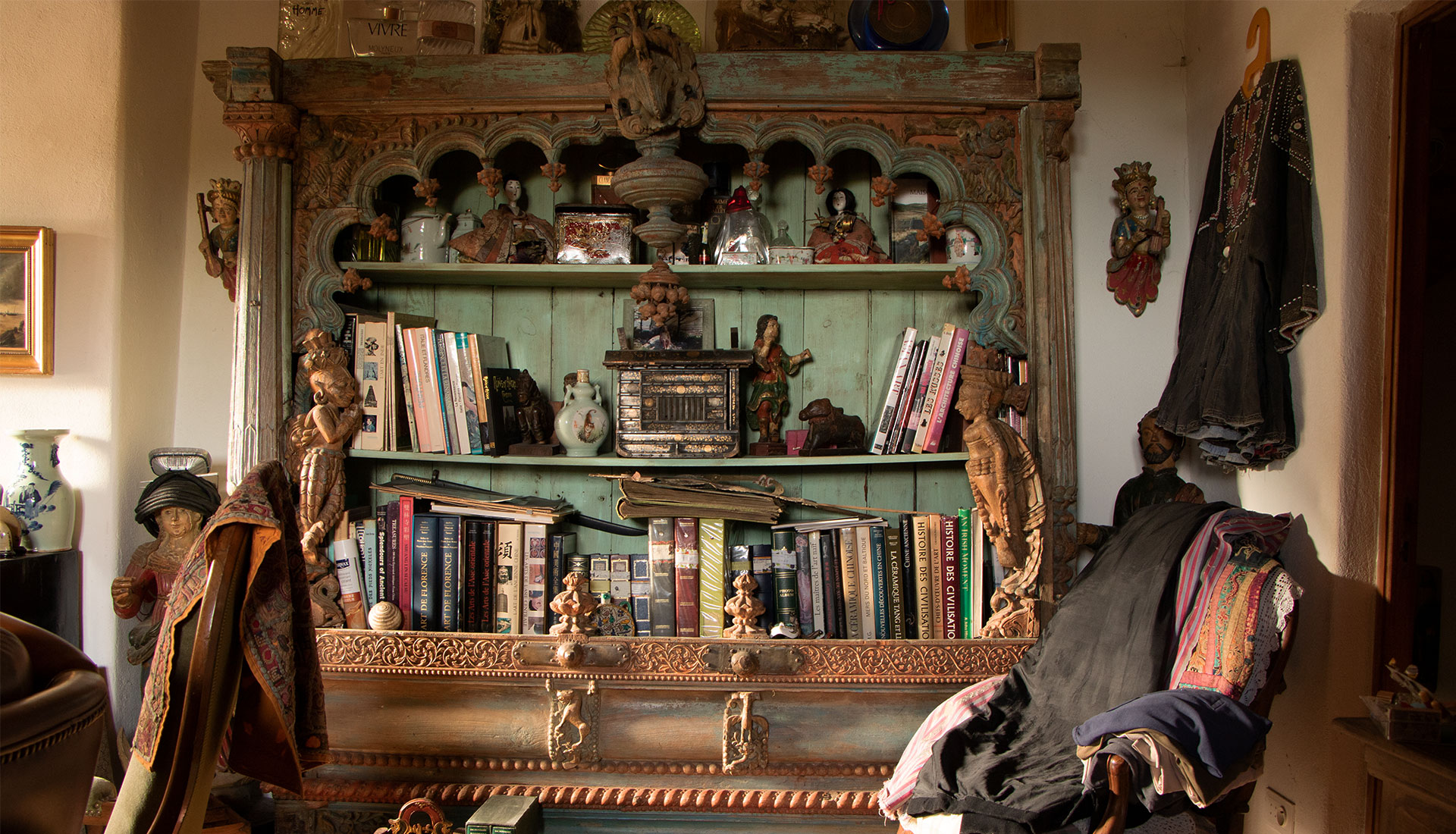 Antique Indian Library in a decorated living room
