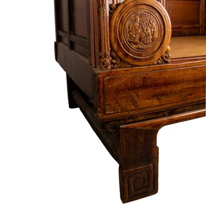 Antique Elaborately Carved Chinese Canopy Bed With Woven Reed Bed/Mattress Platform