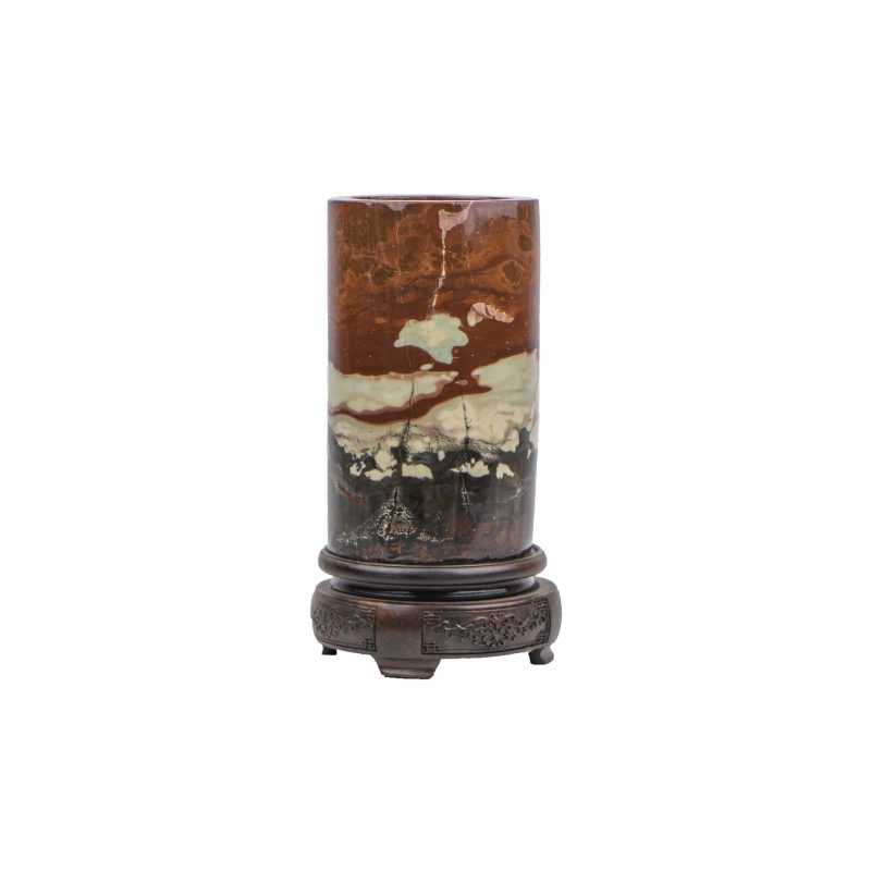 Chinese Cylindrical Meditative Stone on a Carved Stand