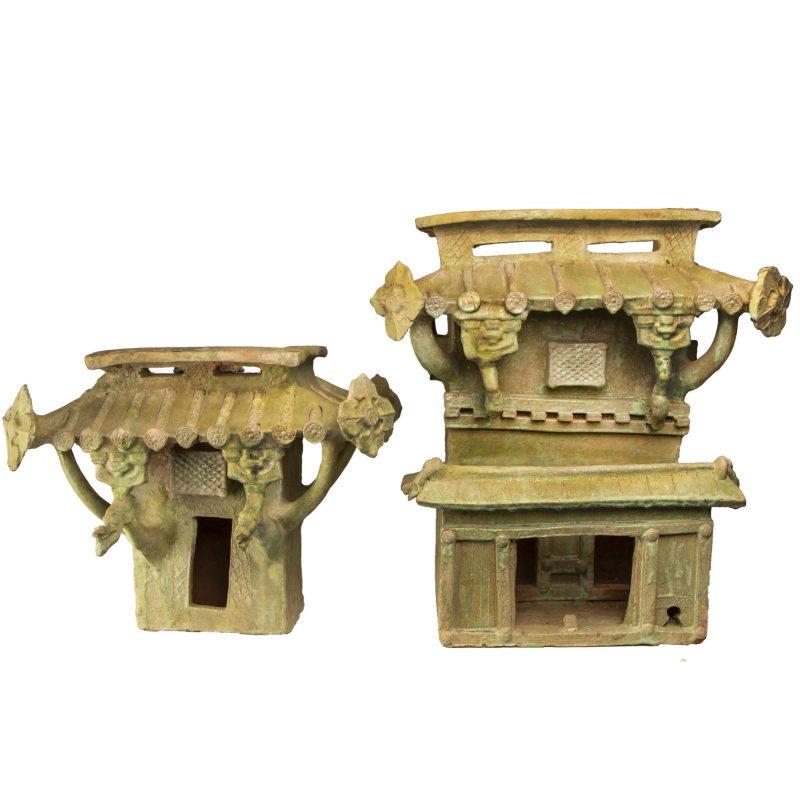 Chinese Han Dynasty Green Glazed Terra Cotta Watchtower