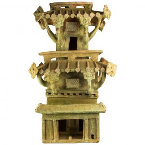 Chinese Han Dynasty Green Glazed Terra Cotta Watchtower