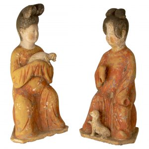 Chinese Tang Fat Lady Terracotta Pair With Dogs