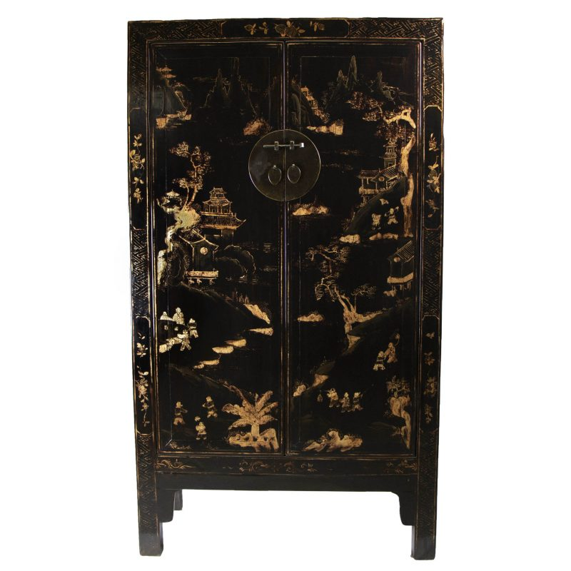 Antique Chinese Gilt Black Lacquered Cabinet