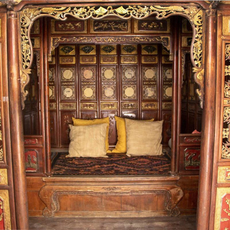 Antique Chinese Beautifully Carved Canopy Bed or bed Chamber from the 19th Century