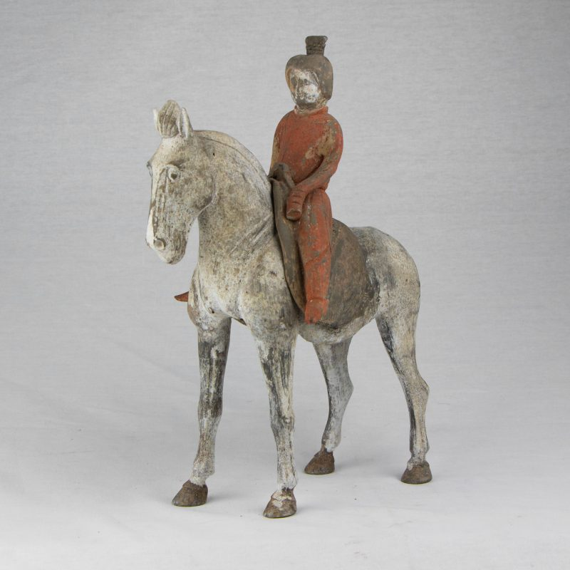 Chinese Terracota Tang Horsewoman in Two Parts