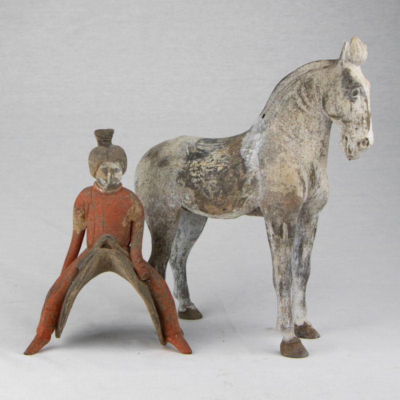 Chinese Terracota Tang Horserider in Two Parts